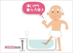 高齢者が楽に入浴出来る高さ